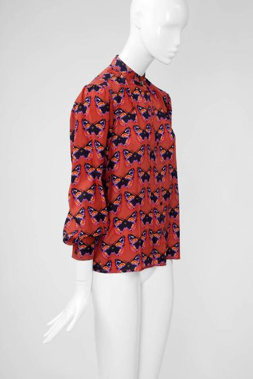 Rare Yves Saint Laurent Butterfly Print Blouse, Fall-Winter 1971-1972 In Excellent Condition For Sale In Geneva, CH