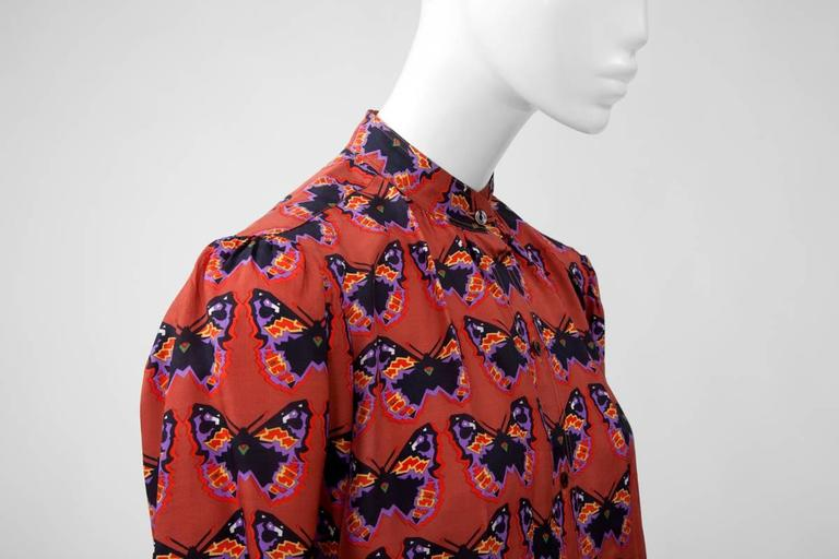 Women's Rare Yves Saint Laurent Butterfly Print Blouse, Fall-Winter 1971-1972 For Sale
