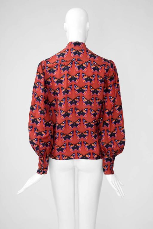 Rare Yves Saint Laurent Butterfly Print Blouse, Fall-Winter 1971-1972 For Sale 2