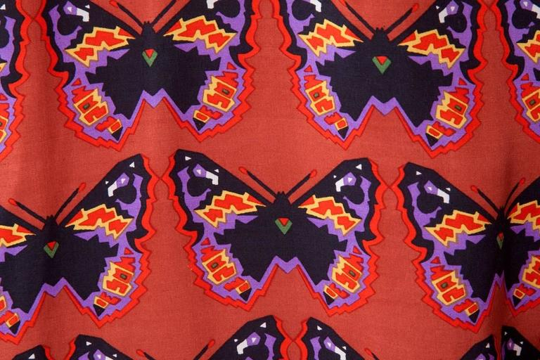 Rare Yves Saint Laurent Butterfly Print Blouse, Fall-Winter 1971-1972 For Sale 4