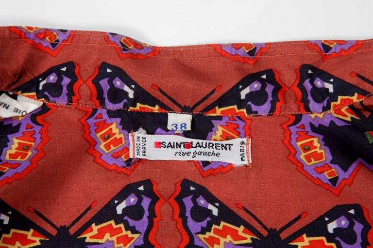 Rare Yves Saint Laurent Butterfly Print Blouse, Fall-Winter 1971-1972 For Sale 5