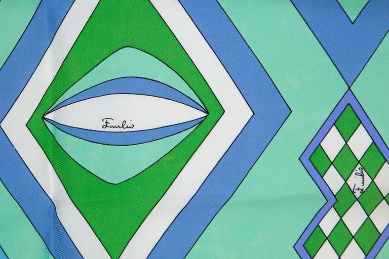 Blue Emilio Pucci Printed Silk Scarf  For Sale
