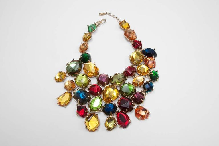 Baroque Revival Rare Yves Saint Laurent Giant Chunky Gem Necklace, Circa 1987  For Sale