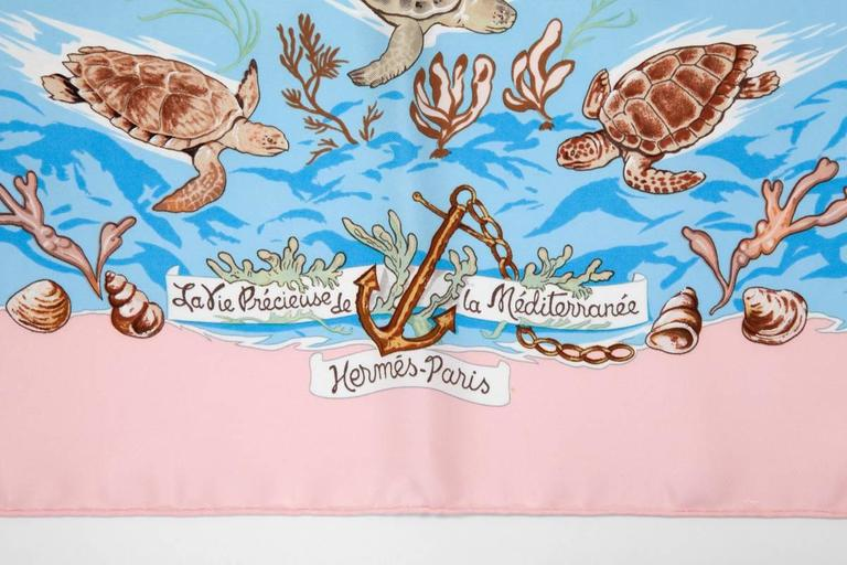 "1992 Hermes ""La Vie Precieuse De La Mediterranee"" Silk Twill Carre Scarf In Excellent Condition For Sale In Geneva, CH"