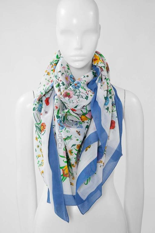 """Wonderful early 70's large Gucci light cotton stole beautifully patterned with the iconic """"Flora"""" print. Designed by artist Vittorio Accornero, this legendary print was originally commissioned by Rodolfo Gucci to create an original scarf to be given"""