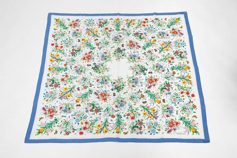 Gray Large Gucci Flora Print Shawl Scarf For Sale
