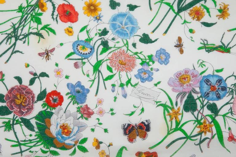 Large Gucci Flora Print Shawl Scarf 5