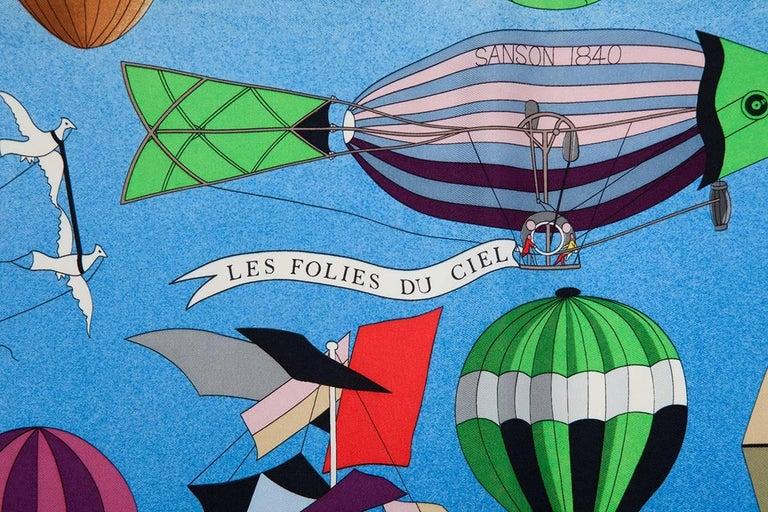 """Blue Hermes """"Les Folies Du Ciel"""" Silk Twill Carre Scarf  For Sale"""