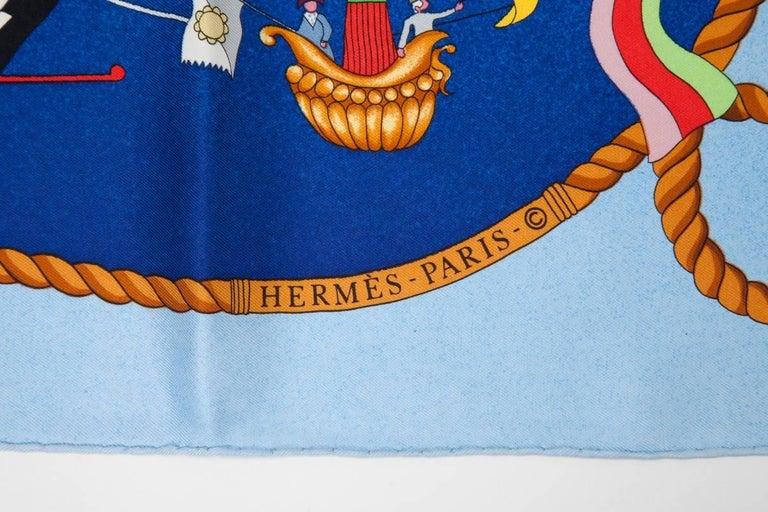 """Women's or Men's Hermes """"Les Folies Du Ciel"""" Silk Twill Carre Scarf  For Sale"""