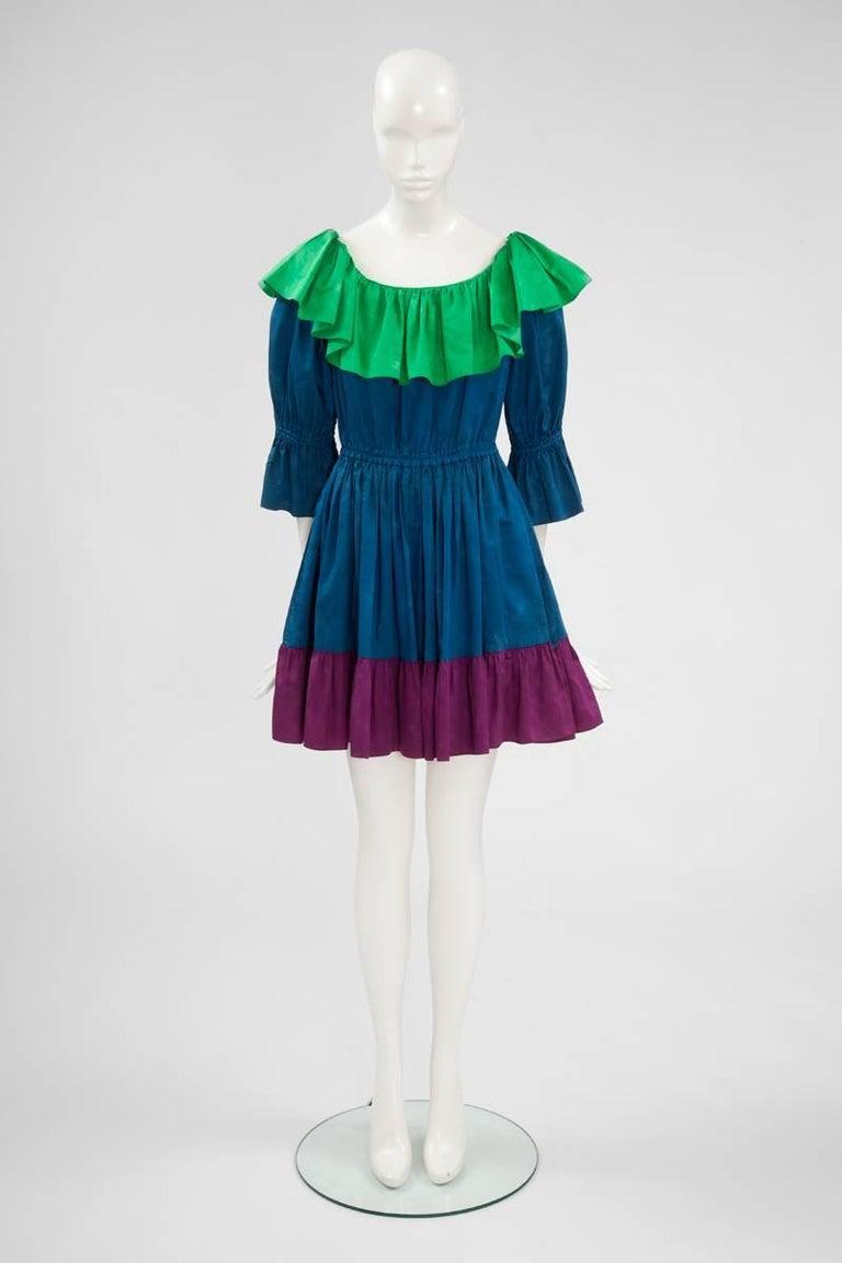 Yves Saint Laurent Colorblock Ruffle Dress 2