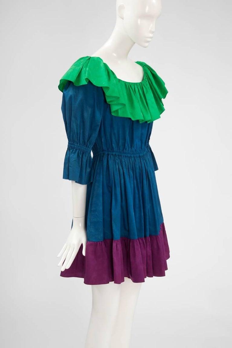 Yves Saint Laurent Colorblock Ruffle Dress 3