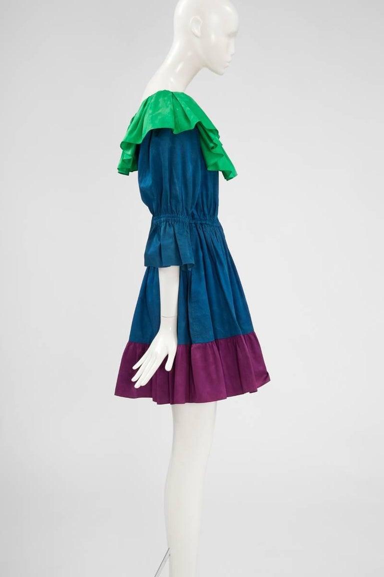 Yves Saint Laurent Colorblock Ruffle Dress 6