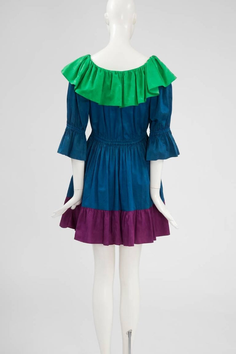 Yves Saint Laurent Colorblock Ruffle Dress 7