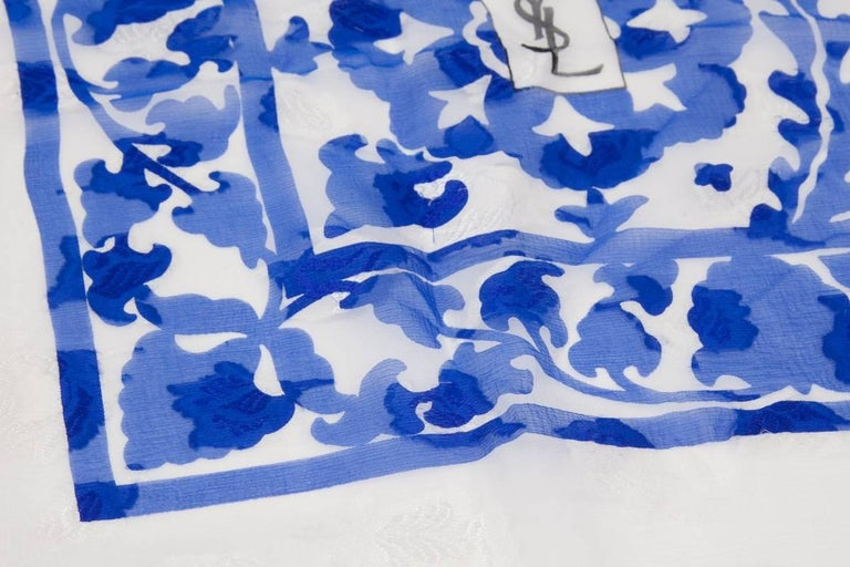 "Large Yves Saint Laurent ""Azulejos"" Printed Shawl Scarf In Good Condition For Sale In Geneva, CH"