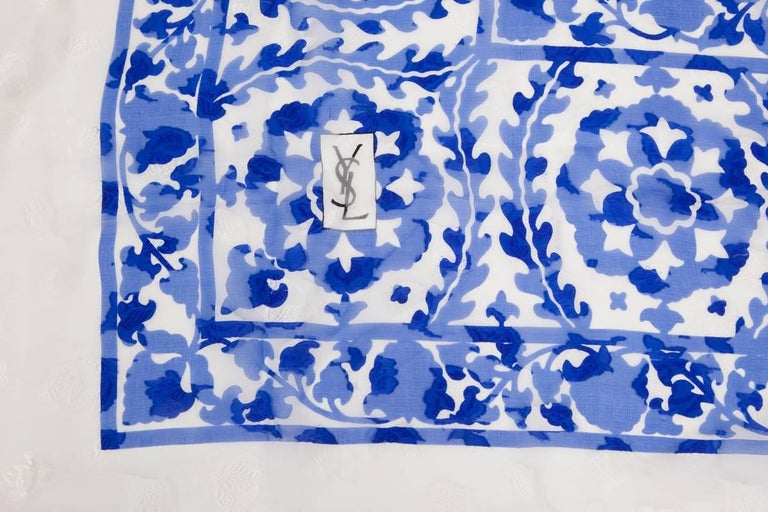 "Large Yves Saint Laurent ""Azulejos"" Printed Shawl Scarf For Sale 2"