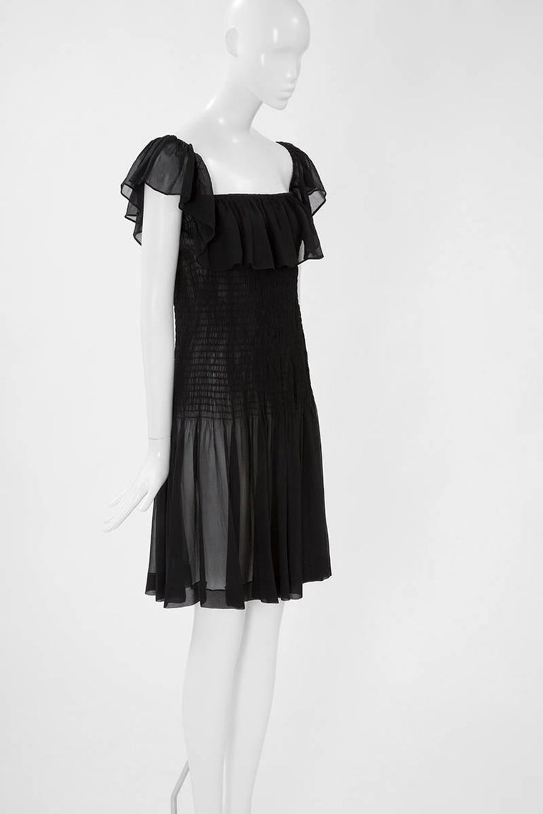 Black Yves Saint Laurent Silk Chiffon Smocked Dress  For Sale