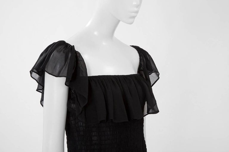 Yves Saint Laurent Silk Chiffon Smocked Dress  In Excellent Condition For Sale In Geneva, CH