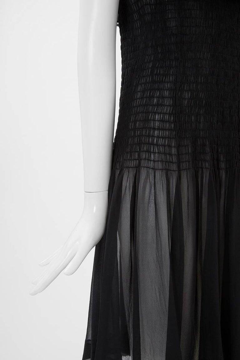 Women's Yves Saint Laurent Silk Chiffon Smocked Dress  For Sale