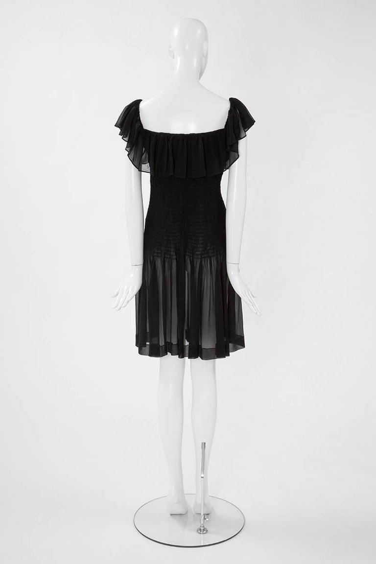 Yves Saint Laurent Silk Chiffon Smocked Dress  For Sale 1