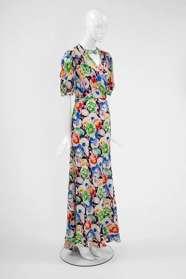 Gray 1930's Bias Cut Wrap Evening Dress  For Sale