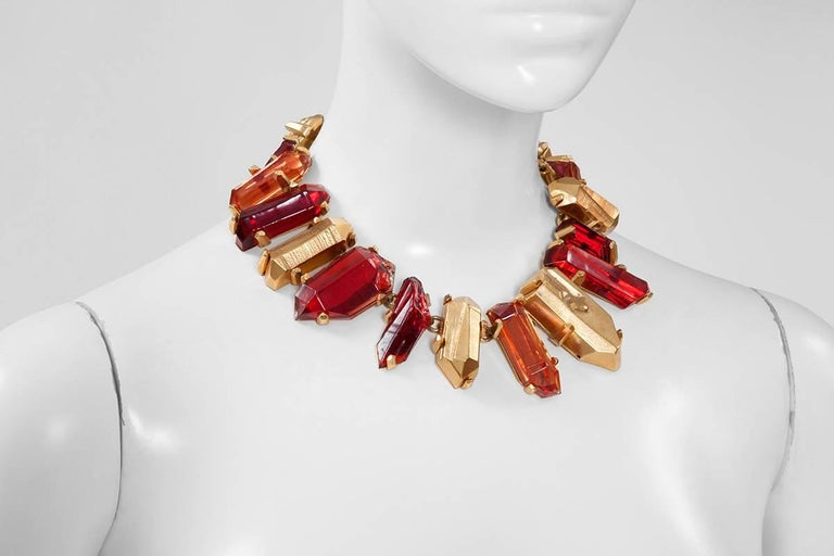 Yves Saint Laurent Gold and Red Quartz Collar Necklace In Excellent Condition For Sale In Geneva, CH