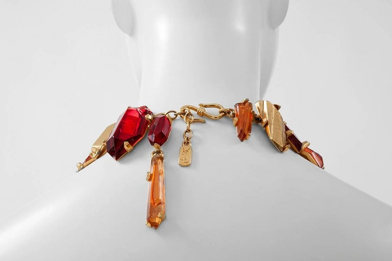 Women's Yves Saint Laurent Gold and Red Quartz Collar Necklace For Sale