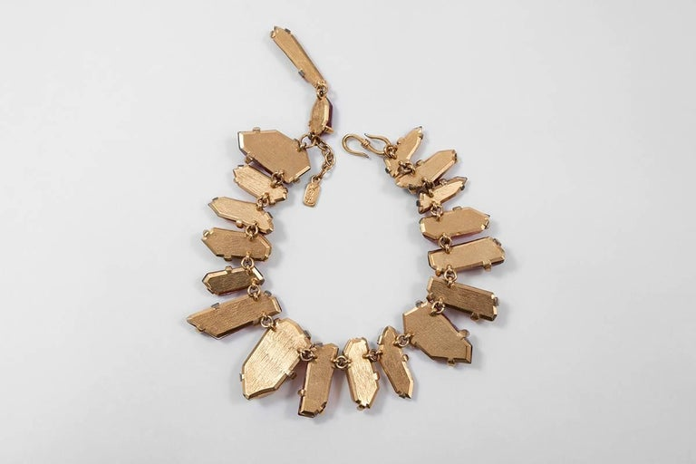 Yves Saint Laurent Gold and Red Quartz Collar Necklace For Sale 2