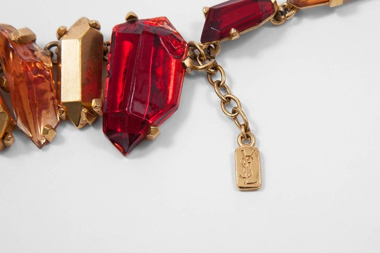 Yves Saint Laurent Gold and Red Quartz Collar Necklace For Sale 3