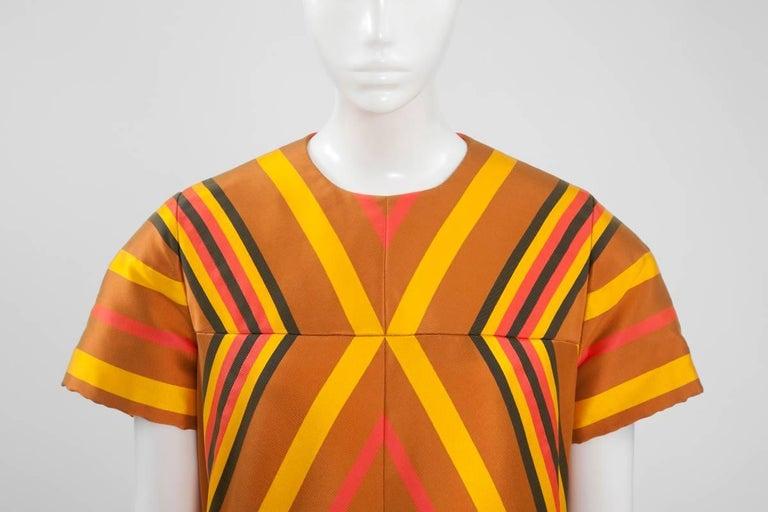 Orange Guy Laroche Haute Couture Silk Dress, Spring-Summer 1967 For Sale