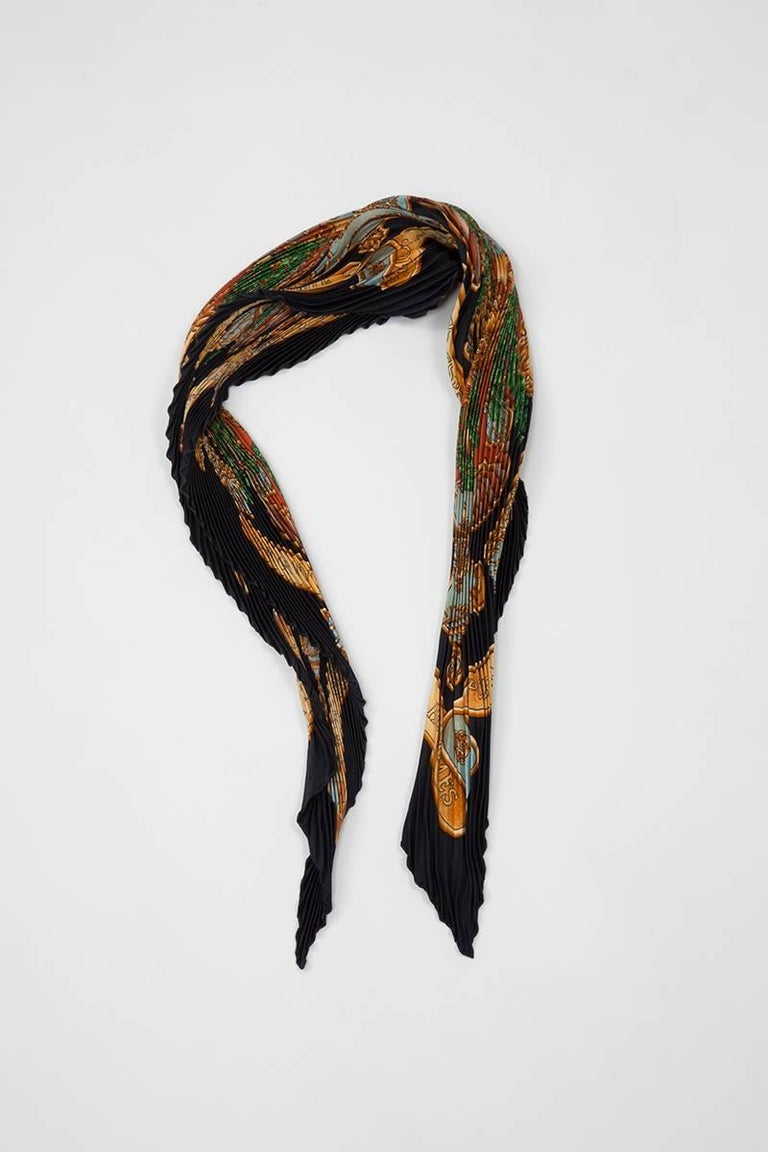 """Designed by Joachim Metz and first issued in 1993, """"Europe"""" is a rare Hermès scarf, even more in its accordion version ! Such version is a classic Hermès silk twill """"carré"""" scarf turned into a refined and skilled """"plissé"""" (technically challenging"""