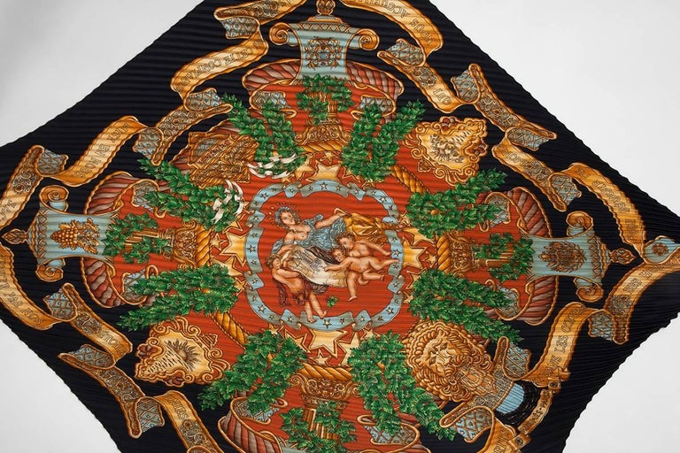 """Hermes """"Europe"""" Silk Plisse Scarf, 1993   In Excellent Condition For Sale In Geneva, CH"""