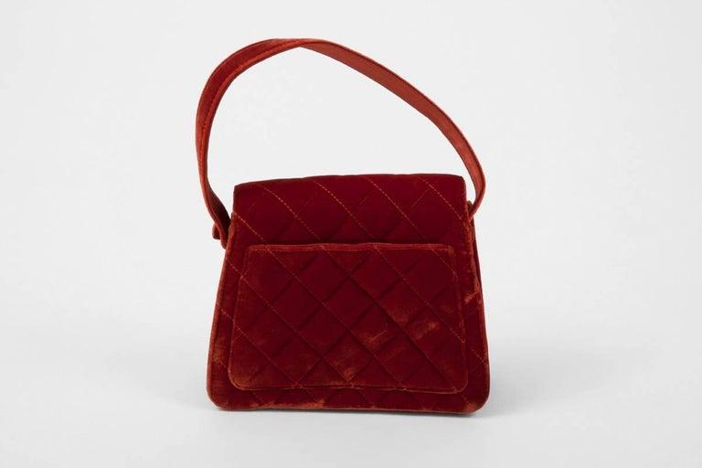 Chanel Velvet Quilted Top Handle Bag For Sale at 1stdibs ff77f306ba284