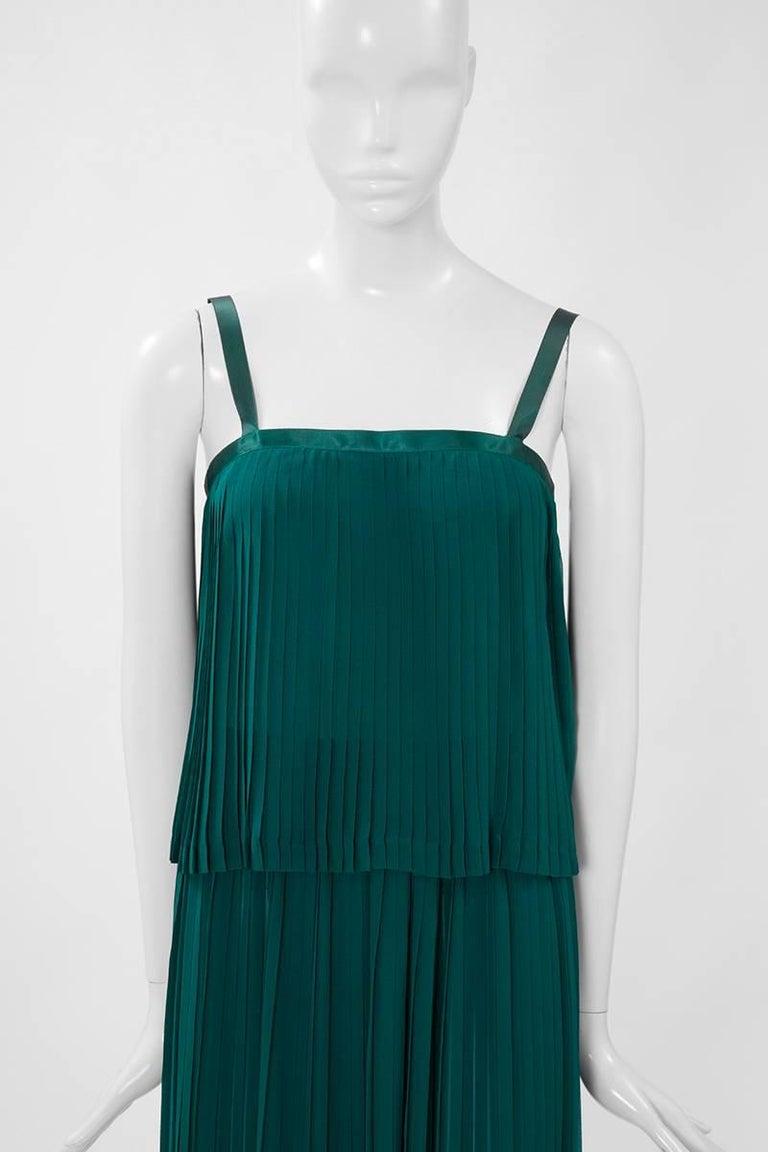 Blue Documented Yves Saint Laurent Pleated Silk Chiffon Ensemble, Spring-Summer 1979 For Sale