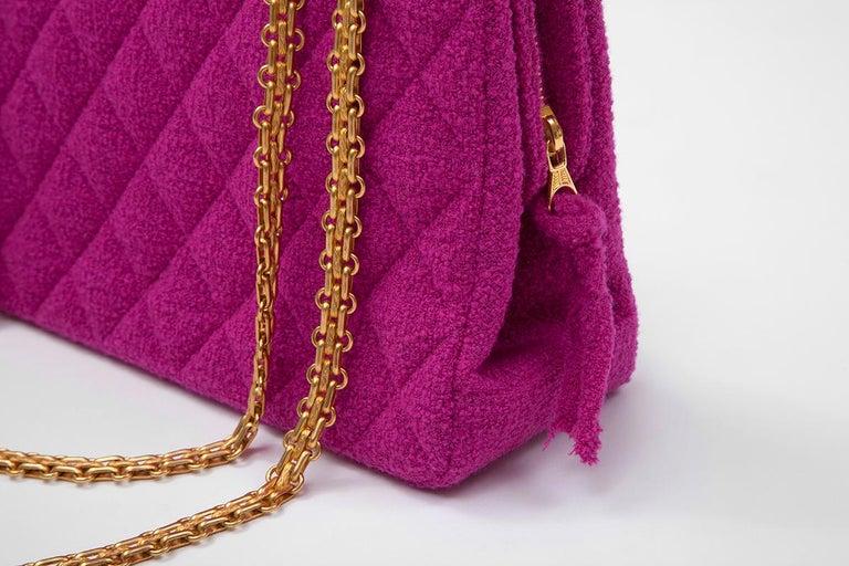 Purple Chanel Tweed Shoulder Bag, Spring-Summer 1994  For Sale