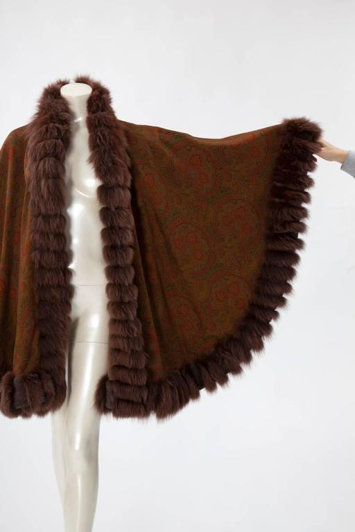 Unworn Sprung Frères Reversible Cashmere & Sable Fur Stole Cape 2