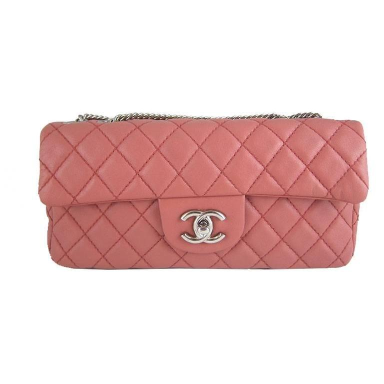 Chanel Pink Lambskin Bicolor East West E/W 10inch Medium 2.55 Bijoux Chain Flap