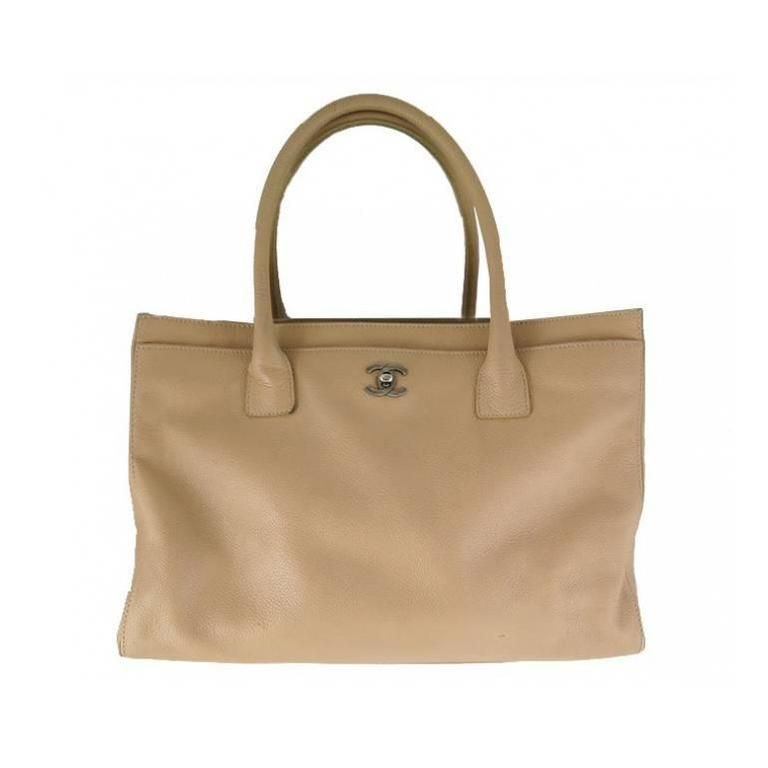 Chanel Jumbo Beige Caviar Leather Cerf Executive Tote Bag