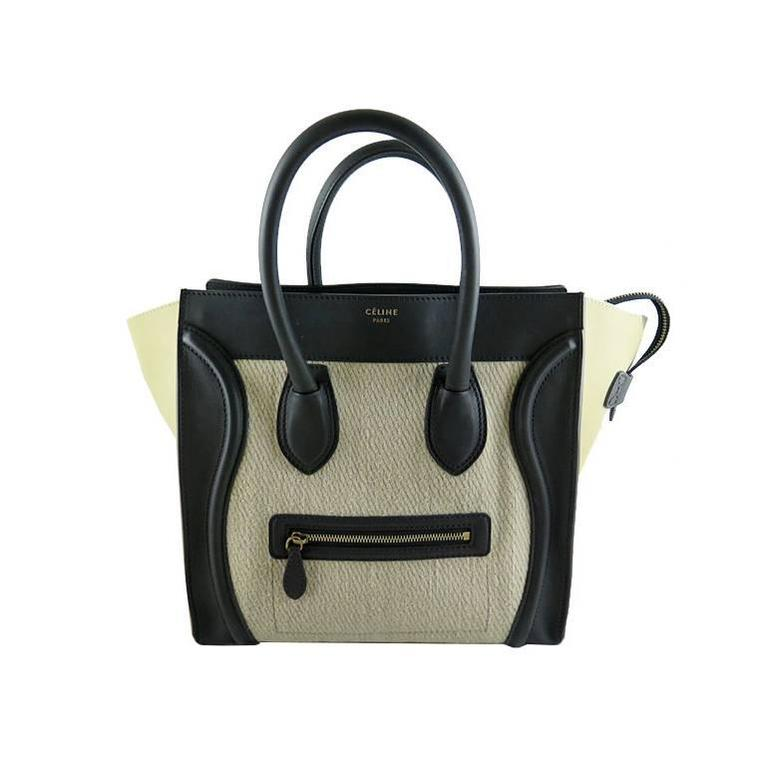 Celine Mini Bicolor Black Leather Cream Tweed Luggage Tote