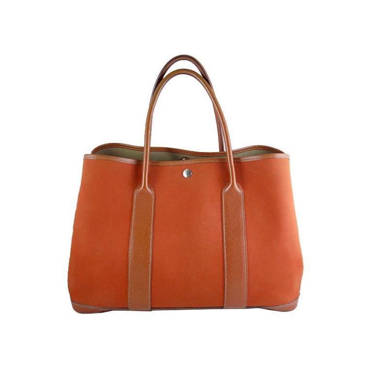 Hermes Orange Canvas Leather Medium MM Garden Party Shoulder Tote For Sale