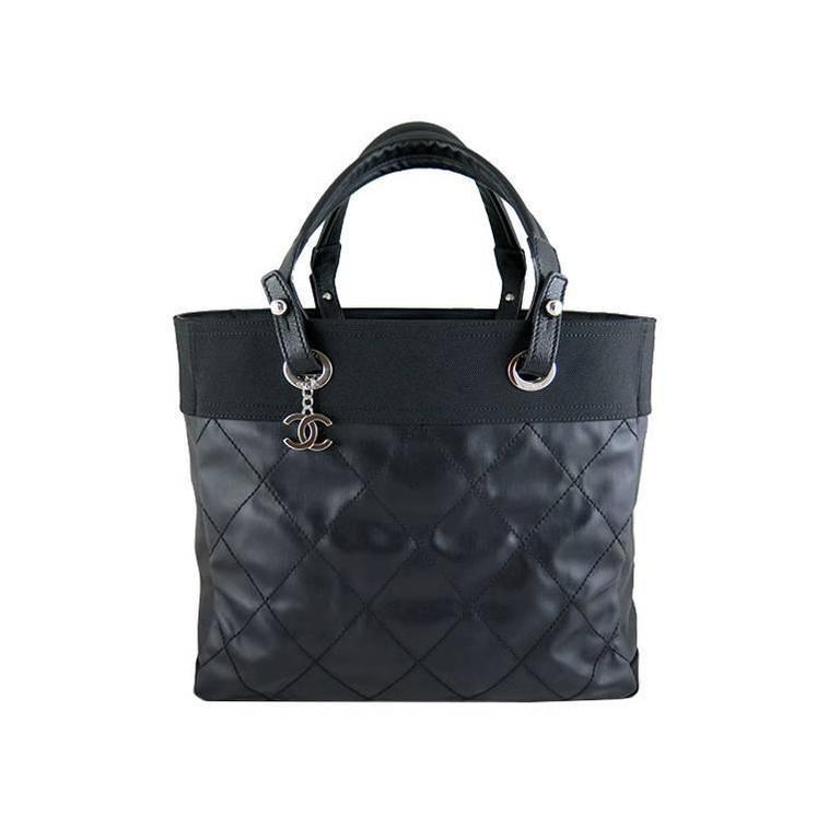 Chanel Biarritz Jumbo Large Black Nylon Shopping Tote Bag ...