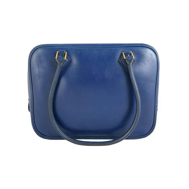 Hermes Blue Plume 20 Boxcalf Leather Gold Hardware