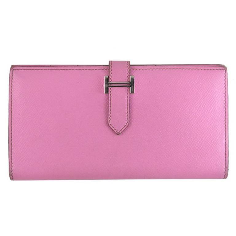 Hermes 5P Bubblegum Pink Bearn Palladium Hardware Wallet - Rare