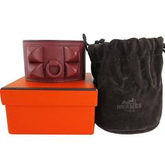 Hermes Red Shadow Cdc Collier De Chien Medor Bangle Bracelet