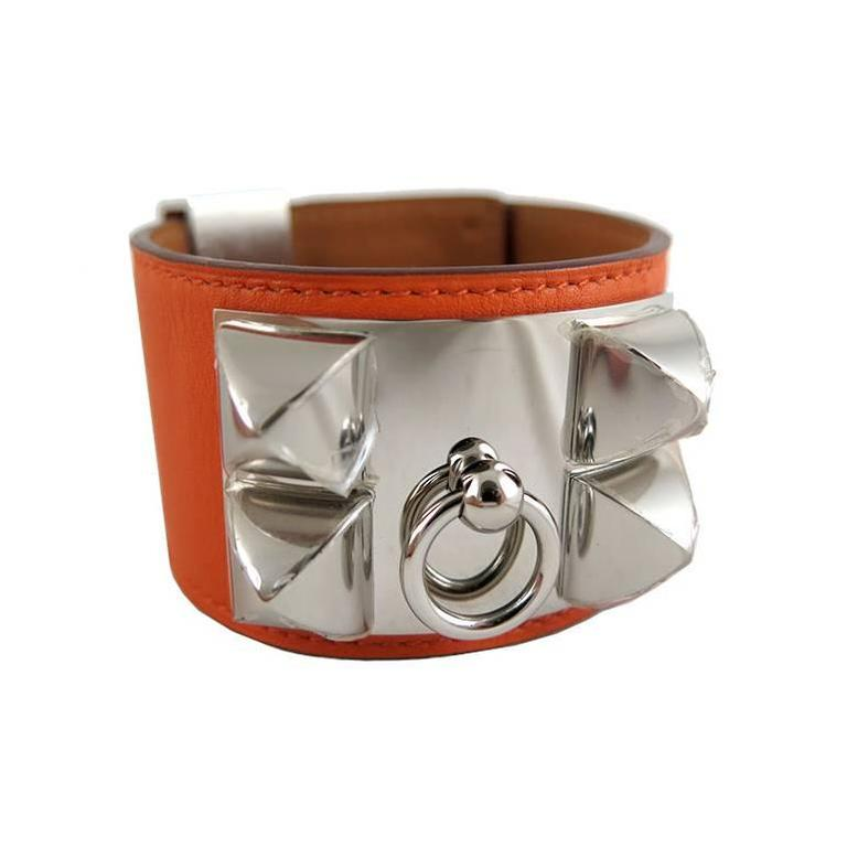 hermes cdc collier de chien orange swift palladium bracelet for sale at 1stdibs. Black Bedroom Furniture Sets. Home Design Ideas