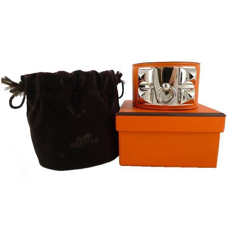 Hermes Cdc Collier De Chien Orange Swift Palladium Bracelet 1