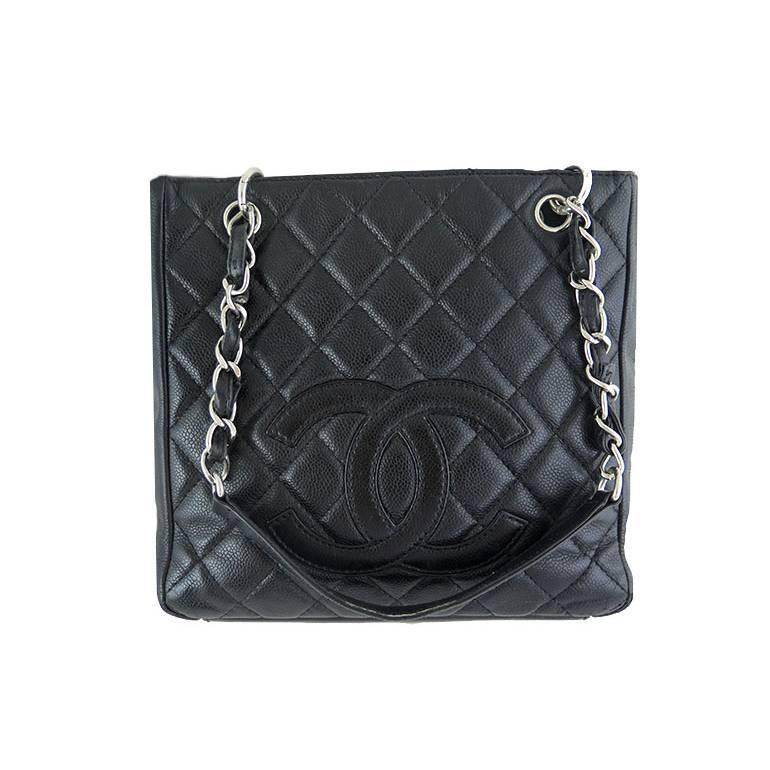 Chanel Pst Black Caviar Leather Pee Ping Tote Silver Hardware For At 1stdibs