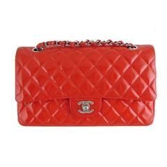 Chanel Red Patent Leather Medium 10inch Double Flap