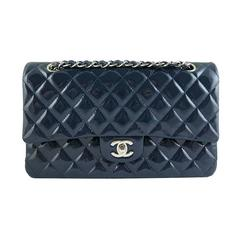 Chanel Blue Patent Leather Medium 10inch Double Flap Bag