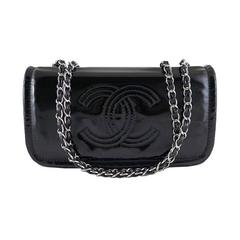 Chanel Black Patent Cc Medium Flap Shoulder Bag