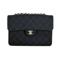 Chanel Black Large Canvas Fabric Classic 2.55 Flap Bag